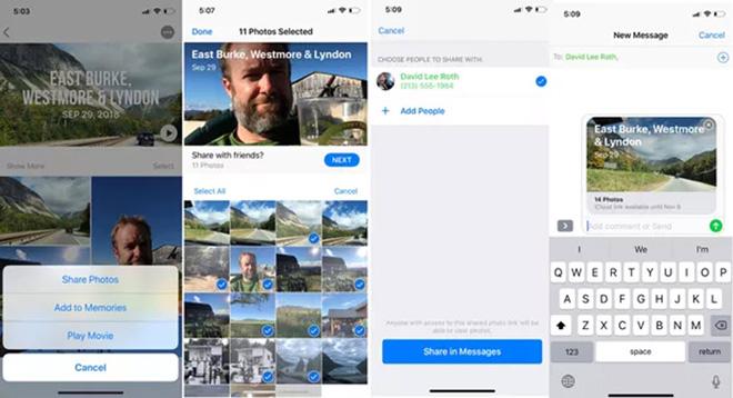 Chia sẻ ảnh và video với liên kết iCloud