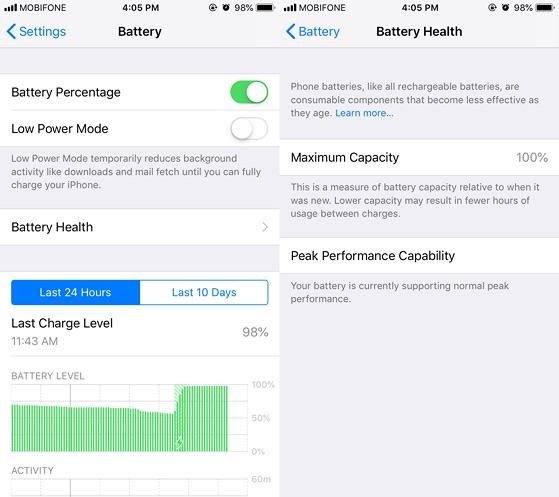 Kiểm tra pin của máy đã nâng cấp lên iOS 12