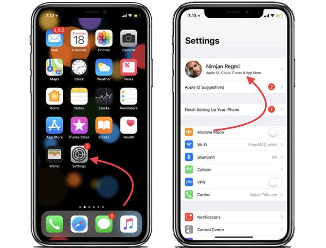Truy cập vào iCloud thông qua phần quản lý tài khoản Apple ID trên iPhone