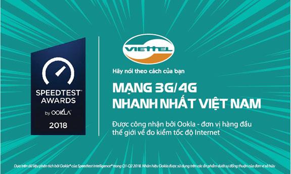 Mạng di động Viettel là nhà mạng nhanh nhất Việt Nam