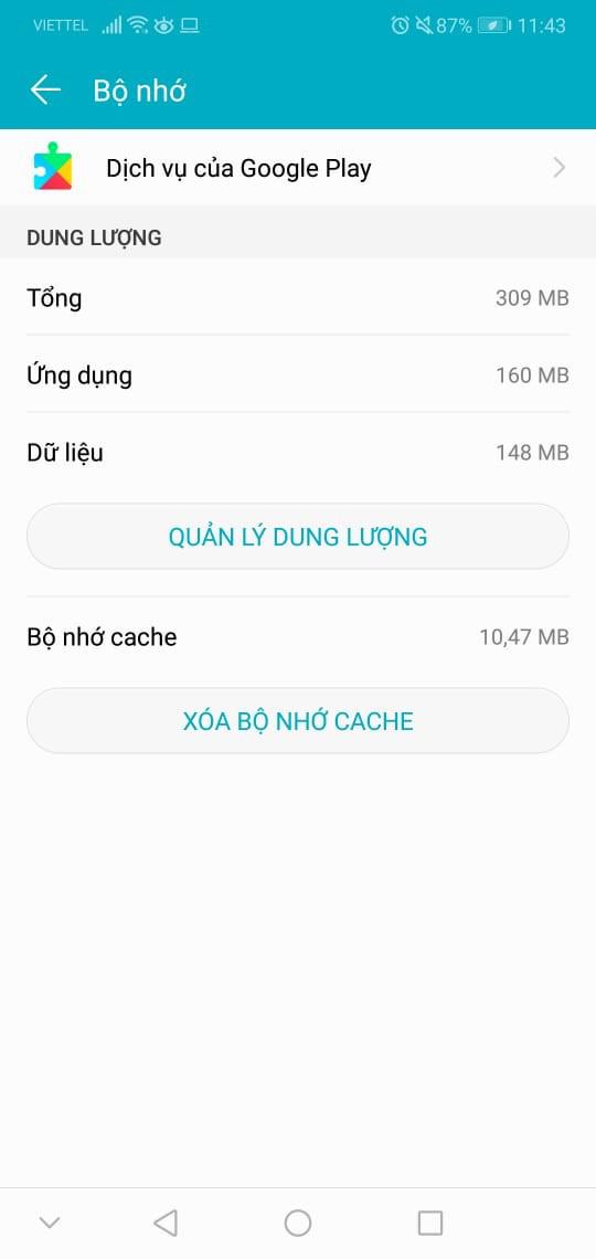 Xóa dữ liệu, xóa cache Google Play Services