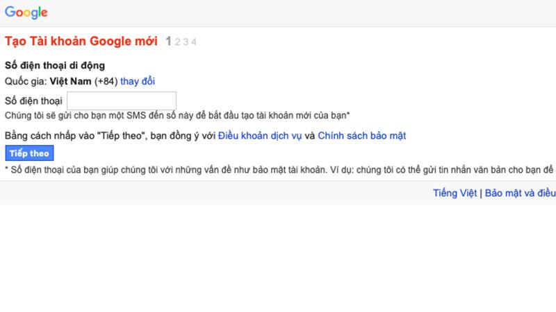 Truy cập vào địa chỉ tạo Gmail