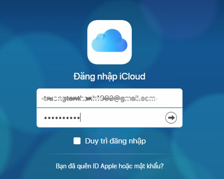 Đăng nhập tài khoản iCloud