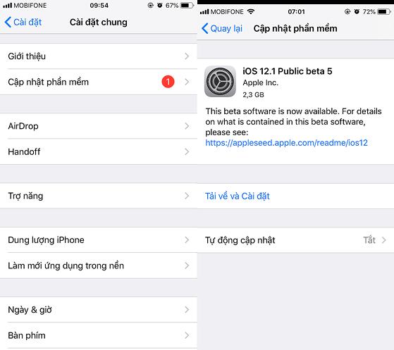 Bản cập nhật iOS 12.1.1